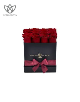 Forever Quadrata - small black or white cube box - red infinity roses-0