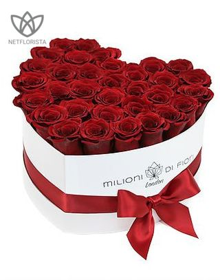 Forever Amore - white limited edition heart shape box - red infinity roses