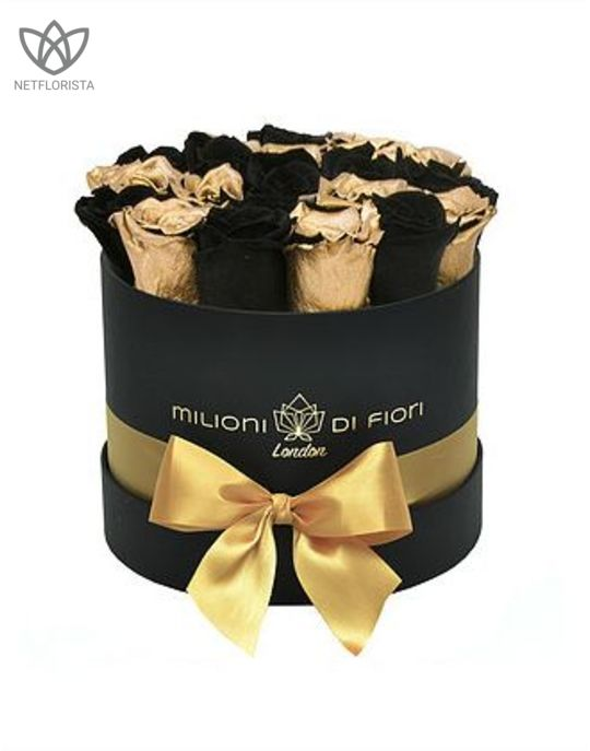 Forever Piccolo - small black round box - mixed gold & black infinity roses