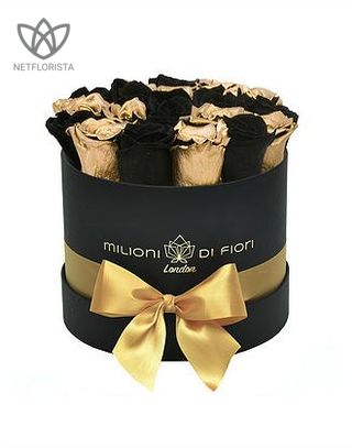 Forever Piccolo - small black round box - mixed gold & black infinity roses-0