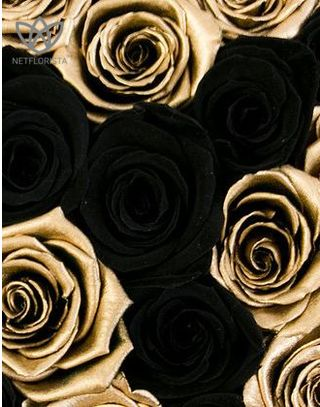Forever Piccolo - small black round box - mixed gold & black infinity roses-1