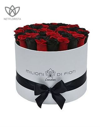 Forever Medio - medium white or black round box - red and black infinity roses-0