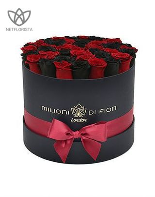 Forever Medio - medium white or black round box - red and black infinity roses-1