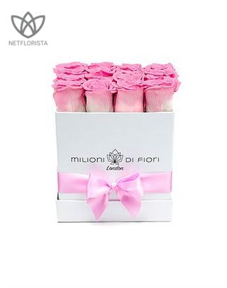 Forever Quadrata - small white cube box - pink and white infinity roses