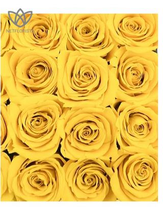 Forever Quadrata - small white cube box - yellow infinity roses-1