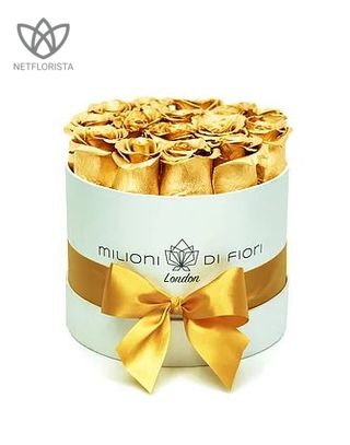 Forever Piccolo - small white round box - gold infinity roses