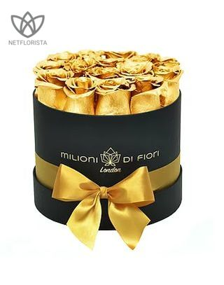 Forever Piccolo - small black round box - gold infinity roses-0
