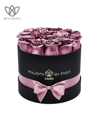 Forever Piccolo - small black round box - Metallic pink infinity roses
