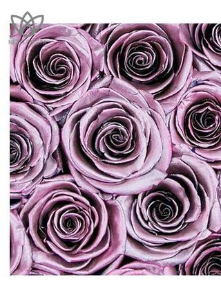 Forever Piccolo - small black round box - Metallic pink infinity roses-1