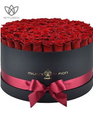 Forever Grande - large black round box - red infinity roses-0