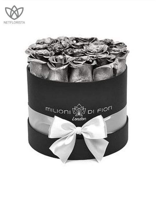 Forever Piccolo - small black round box - silver infinity roses