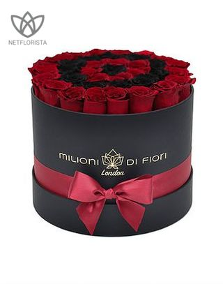 Forever Medio - medium black round box - red and black infinity roses-0