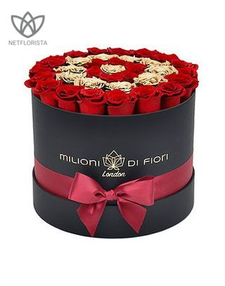 Forever Medio - medium black round box - red and gold infinity roses-0