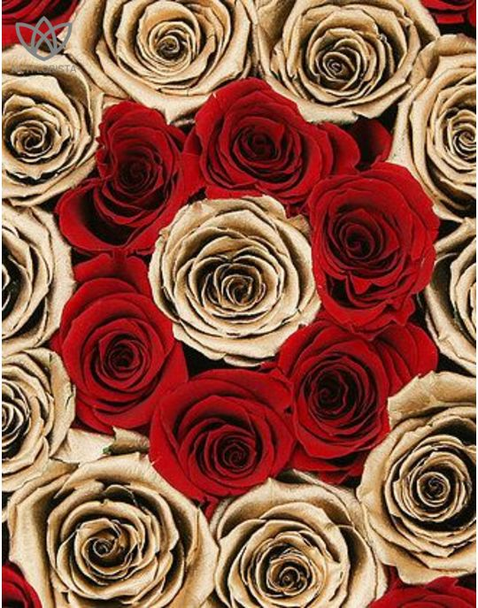 Forever Medio - medium black round box - red and gold infinity roses