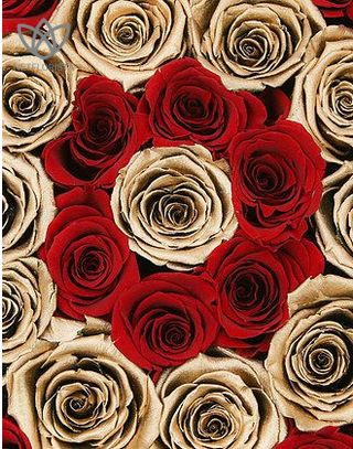 Forever Medio - medium black round box - red and gold infinity roses-1