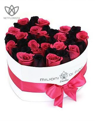 Forever Amore - white heart shape box - hot pink and black infinity roses-0