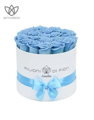 Forever Piccolo - small white round box - aqua blue infinity roses