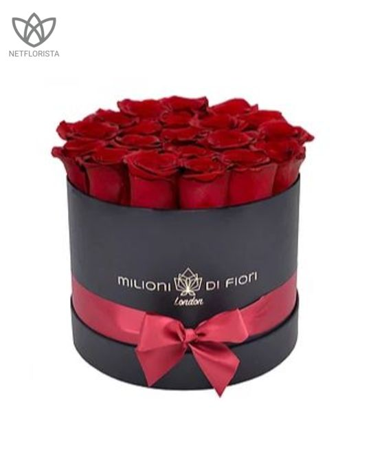 Forever Piccolo - small black round box - red infinity roses