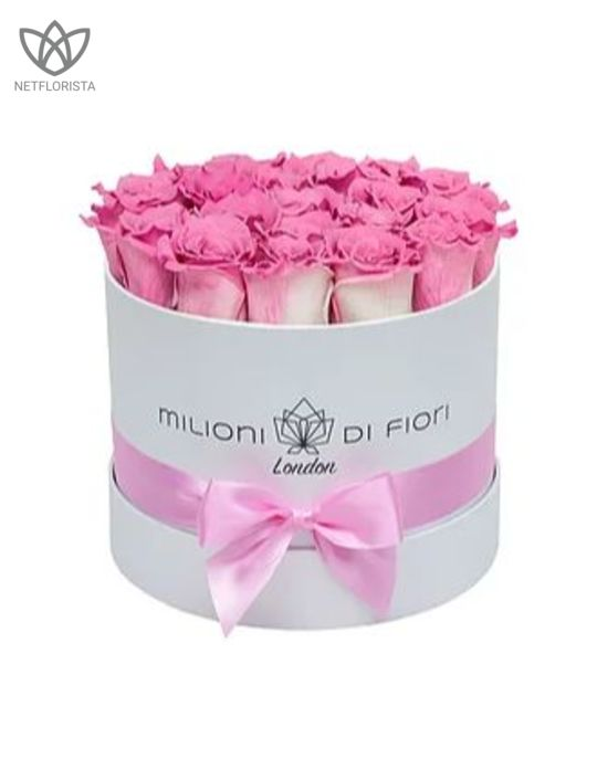 Forever Piccolo - small white round box - pink and white infinity roses