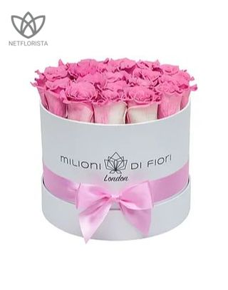 Forever Piccolo - small white round box - pink and white infinity roses-0