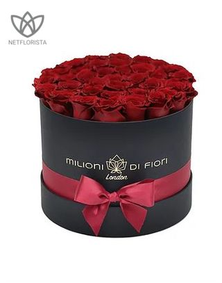 Forever Medio - medium black round box - red infinity roses-0