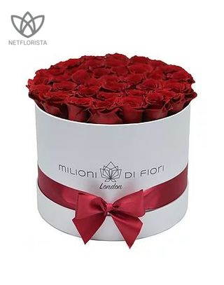 Forever Medio - medium white round box - red infinity roses