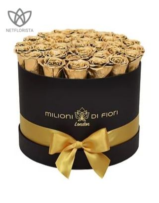 Forever Medio - medium black round box - gold infinity roses-0