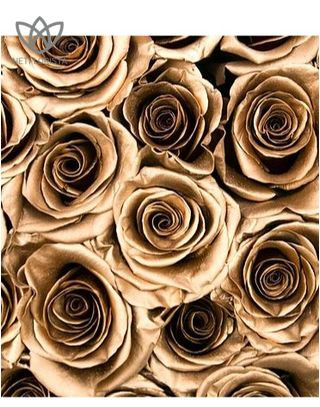 Forever Medio - medium black round box - gold infinity roses-1