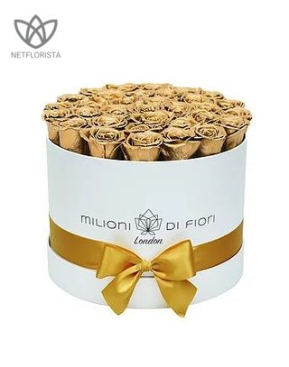 Forever Medio - medium white round box - gold infinity roses-0