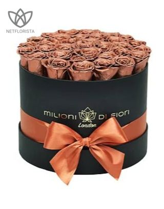 Forever Medio - medium black round box - copper infinity roses