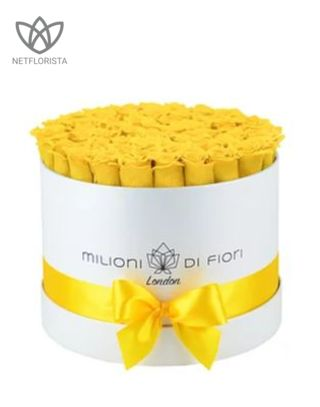 Forever Medio - medium white round box - yellow infinity roses
