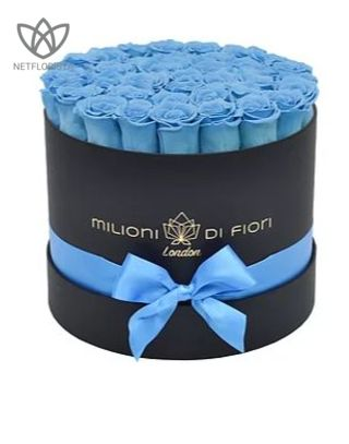 Forever Medio - medium black round box - light blue infinity roses