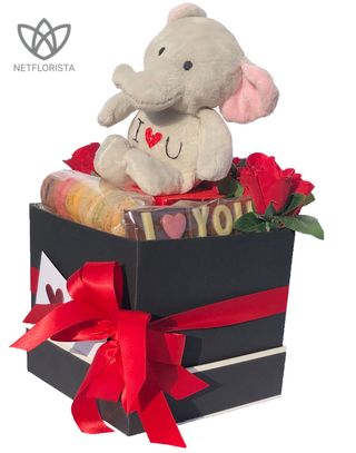 Plush Elephant with Macaron Selection and ILOVEYOU chocolate -0