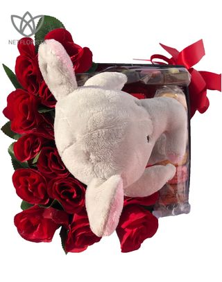 Plush Elephant with Macaron Selection and ILOVEYOU chocolate -1