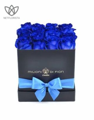 Quadrata - small black square box - blue roses