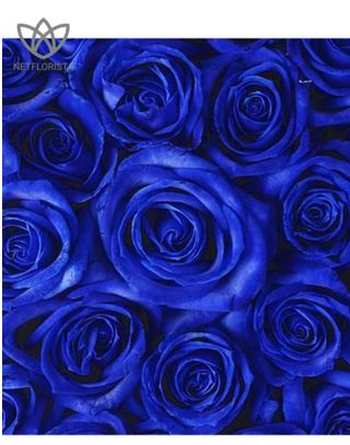 Quadrata - small black square box - blue roses-1