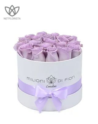 Piccolo - small white hat box - light lilac roses