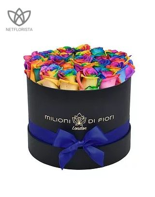 Piccolo - small black hat box - rainbow roses