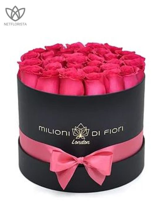 Piccolo - small black hat box - pink roses