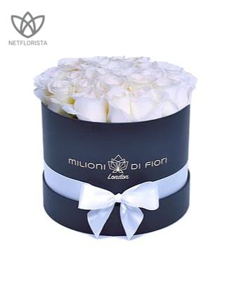 Piccolo - small black round box - white roses Price