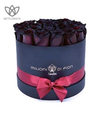 Piccolo - small black hat box - black roses-0