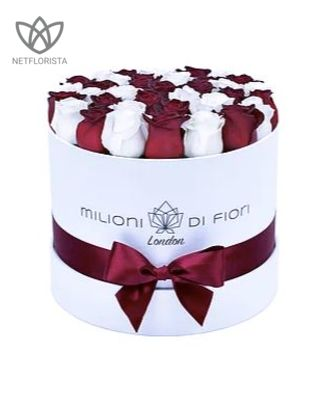 Piccolo - small white round box - mixed red and white roses
