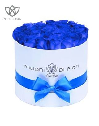 Piccolo - small white hat box - blue roses-0