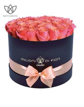 Medio - medium black hat box - peach roses