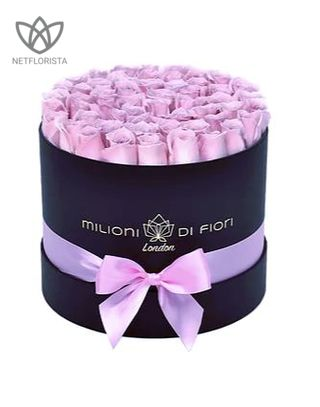 Medio - medium black hat box - light pink roses-0