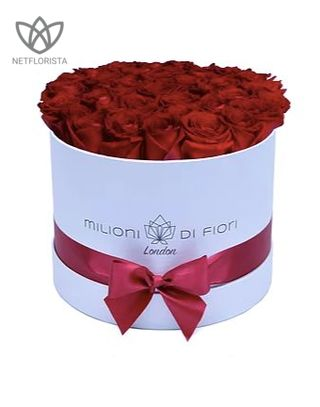 Medio - medium white hat box - red roses-0