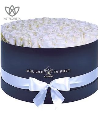Grande - large black hat box - white roses