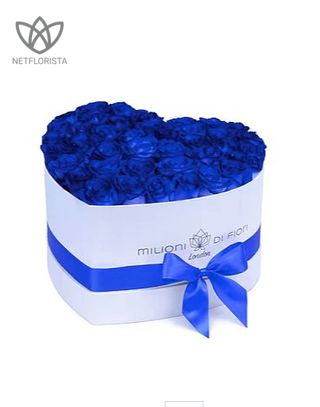 Amore - limited edition white heart shape box - blue roses