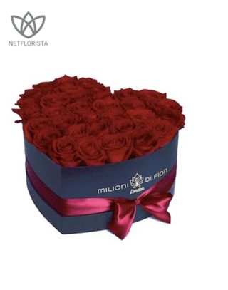 Amore - limited edition black heart shape box - red roses