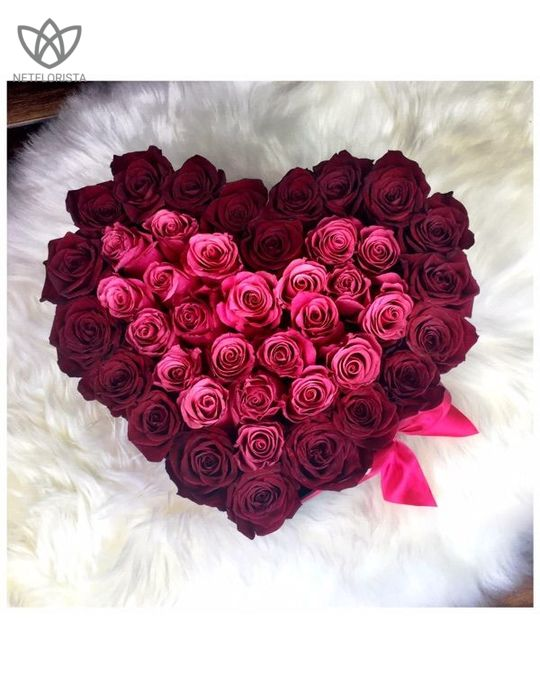 Amore - limited edition black heart shape box - mixed roses